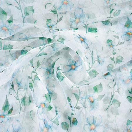 White Green Floral Organza Digital Silk Fabric-22395