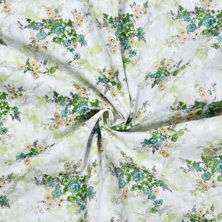 White Green Flower Cotton Foil Embroidery Fabric-28296