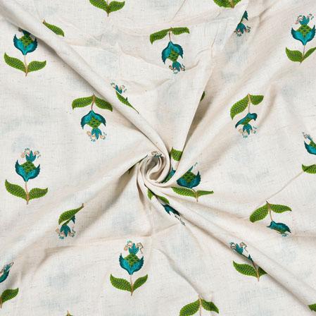 White Green Flower Cotton Print Fabric-28216
