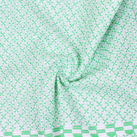 White Green Flower Lucknowi Chikan Fabric-95017