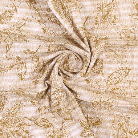 White Green Handloom Khadi Cotton Fabric-40417