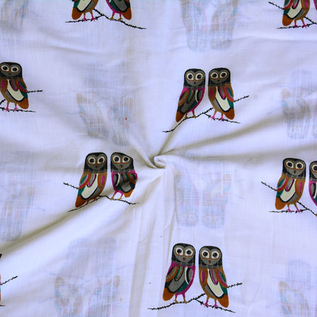 White Green Owl Digital Print Cotton Slub Fabric-15116