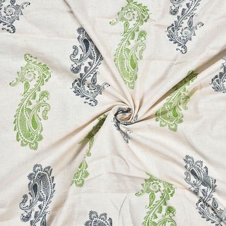 White Green Paisley Cotton Flex Fabric-28231