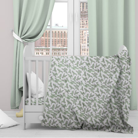 White Green Sparrow Cotton Block Print Baby Quilt-33134
