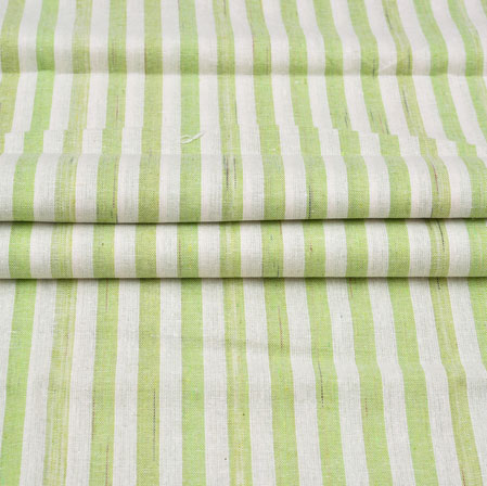 White Green Stripe Cotton Handloom Fabric-42231