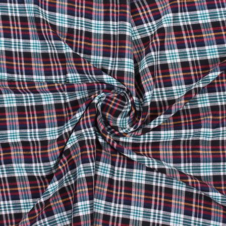 White Green and Black Check Handloom Khadi Cotton Fabric-40458