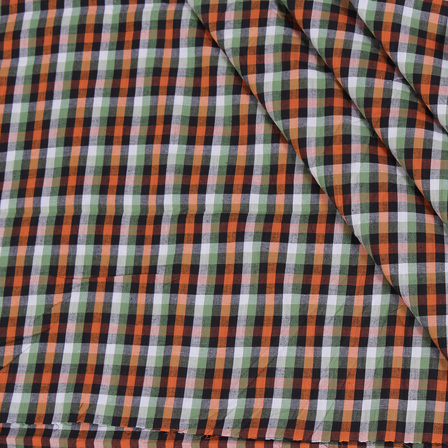 White-Green and Black Checks Handloom Cotton Khadi Fabric-40054