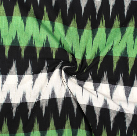 White Green and Black 3D Ikat Cotton Fabric-11017