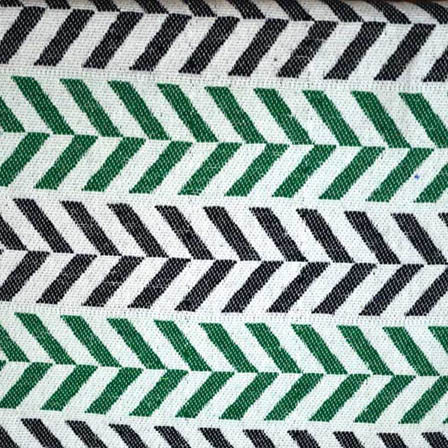 White-Green and Black Zig Zag Pattern Cotton Jacquard Fabric-31042