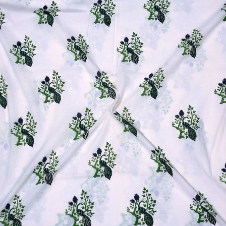 White Green and Blue Block Print Cotton Fabric-14716