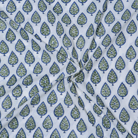 White Green and Blue Block Print Cotton Fabric-14736