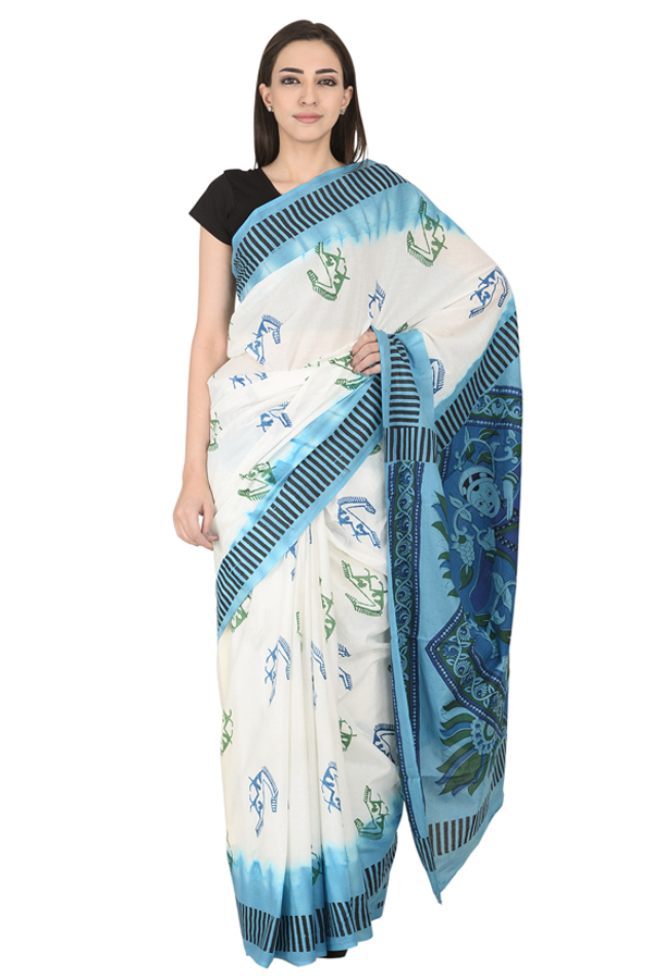 White-Green and Blue Cotton Block Print Saree-20116