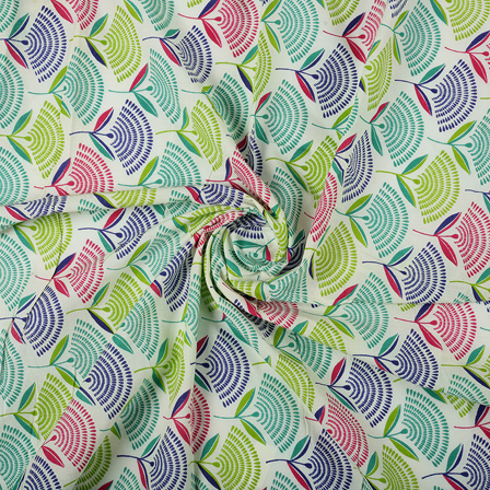 White-Green and Blue Floral Design Block Print Fabric-14460