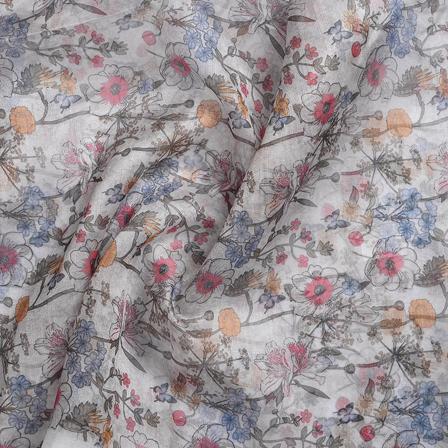 White-Green and Blue Organza Digital Print Fabric-51346