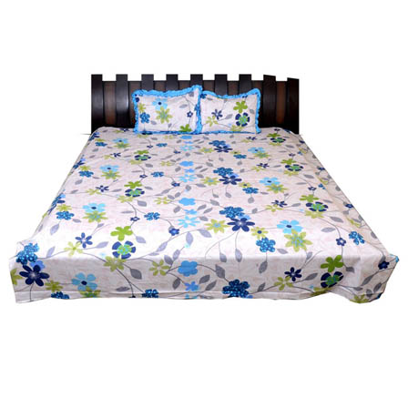 White-Green and Blue Printed Cotton Double King Size Bed Sheet-0G25