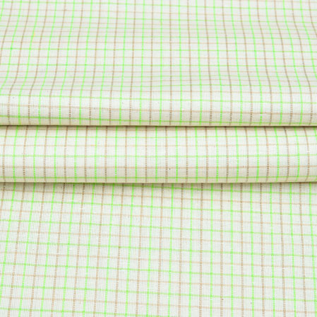 White Green and Brown Checks Handloom Cotton Fabric-42598