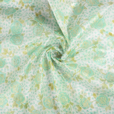 White-Green and Golden Flower Organza Print Fabric-51274