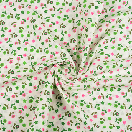 White-Green and Pink Flower Design Block Print Fabric-14420