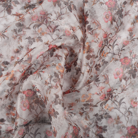 White-Green and Pink Flower Organza Digital print Fabric-51358