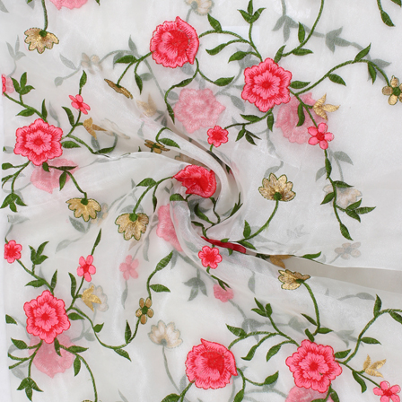 White-Green and Pink Flower Organza Embroidery Fabric-51426