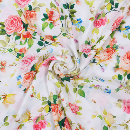 White-Green and Pink Flower Silk Crepe Fabric-18139