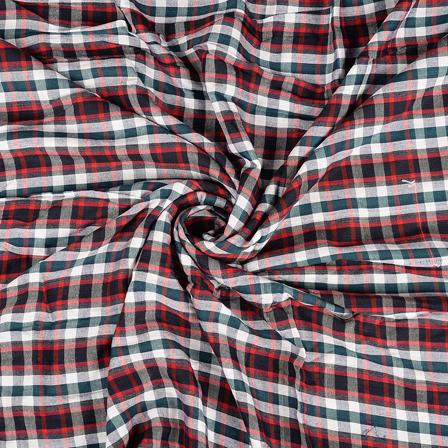 White-Green and Red Checks Rayon Shirt Fabric-40257