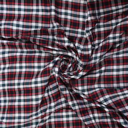 White-Green and Red Checks Rayon Shirt Fabric-40266