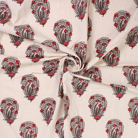 White-Green and Red Floral Block Print Cotton Fabric-14576