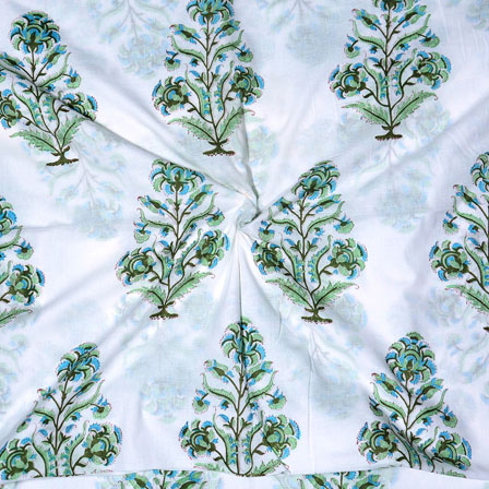 White Green and Sky blue Block Print Cotton Fabric-14700