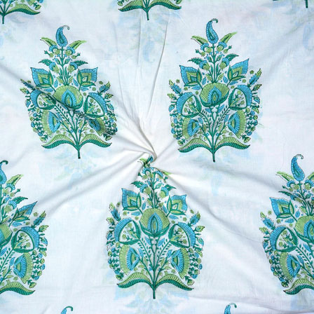 White Green and Sky blue Block Print Cotton Fabric-14702