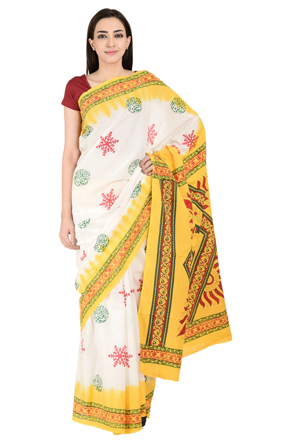White-Green and Yellow Cotton Block Print Kalamkari Saree-20153