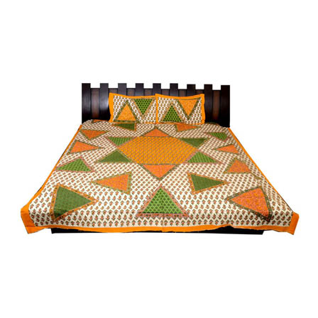 White-Green and Yellow  Print Cotton Double Bed Sheet -0T20