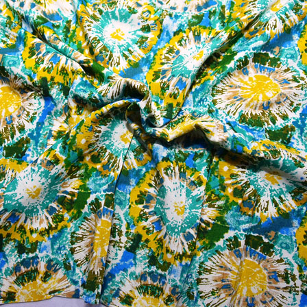 White-Green and Yellow Unique Pattern Rayon Fabric-15036