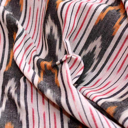 White-Grey and pink lining zig zag ikat fabric-5091