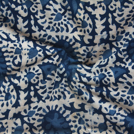White Indigo Block Print Cotton Fabric-14755