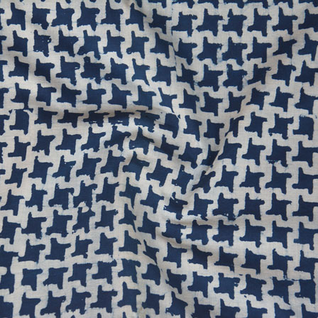 White Indigo Block Print Cotton Fabric-14759