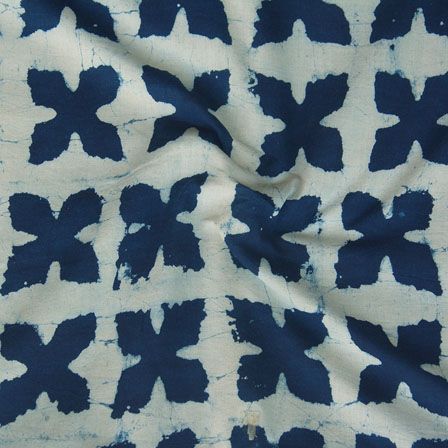 White Indigo Block Print Cotton Fabric-14761