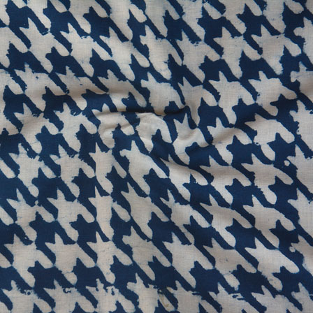 White Indigo Block Print Cotton Fabric-14762