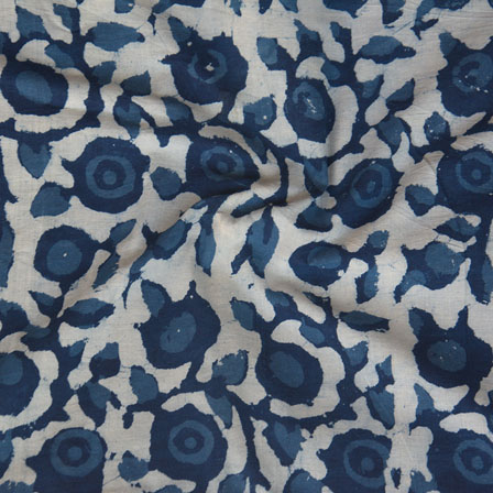 White Indigo Block Print Cotton Fabric-14764