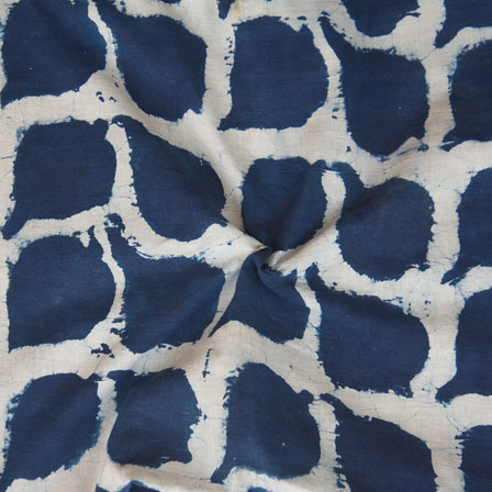 White Indigo Block Print Cotton Fabric-14769