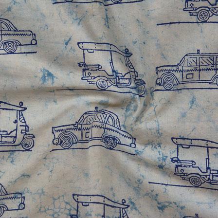 White Indigo Block Print Cotton Fabric-14785