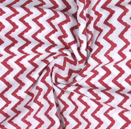 White Maroon Block Print Cotton Fabric-16173
