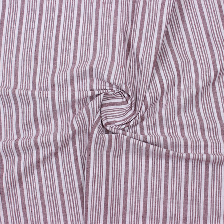 White Maroon Striped Handloom Khadi Cotton Fabric-40766