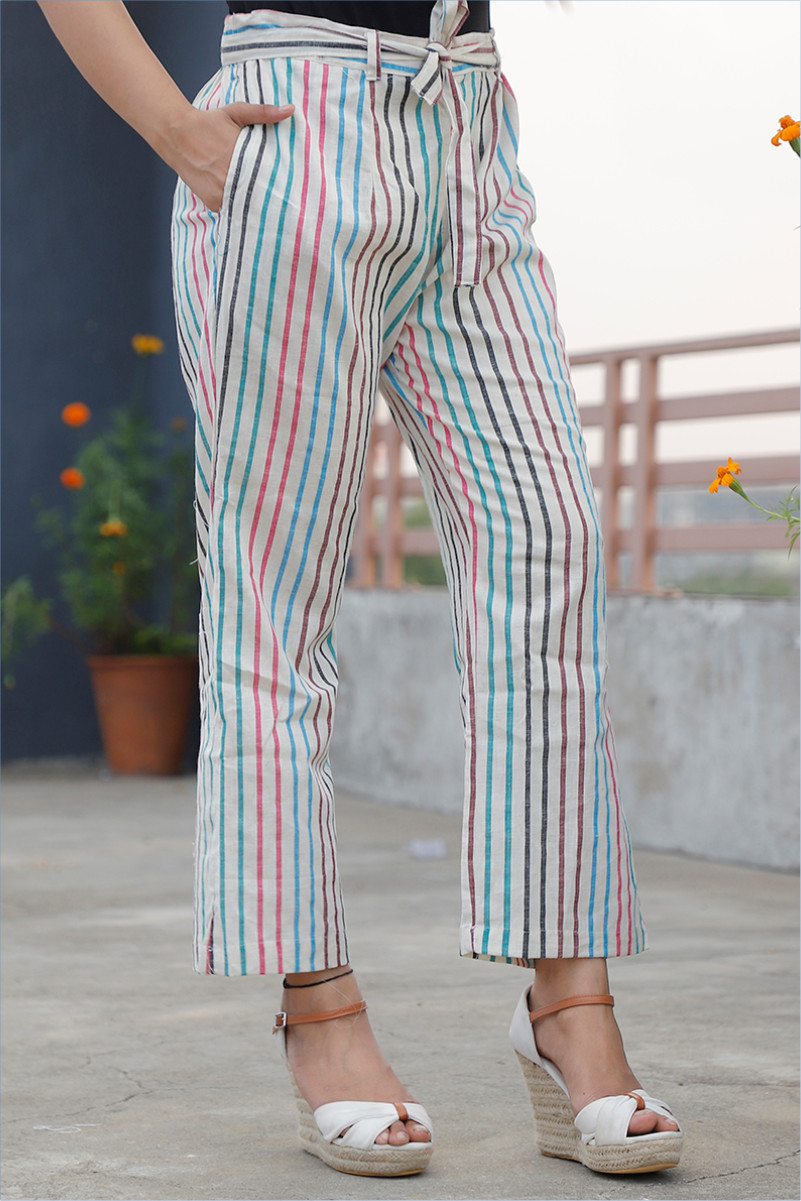 White Multicolor Cotton Stripe Pant with Belt-34055