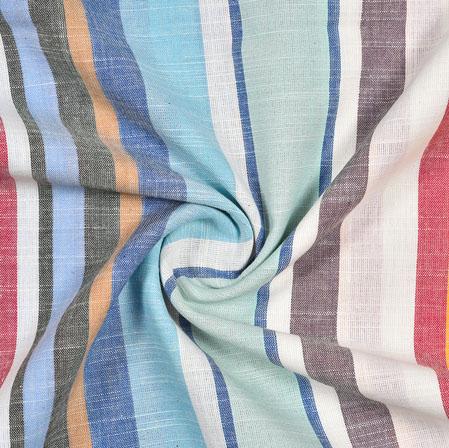 White Multicolor Striped Handloom Cotton Fabric-40819