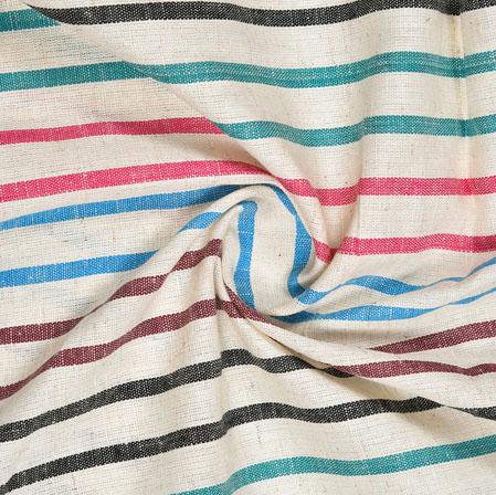 White Multicolor Striped Handloom Cotton Fabric-40828