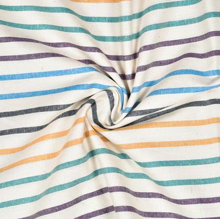 White Multicolor Striped Handloom Cotton Fabric-40853
