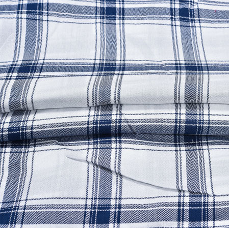 White NavyBlue Checks Rayon Checks Fabric-28363