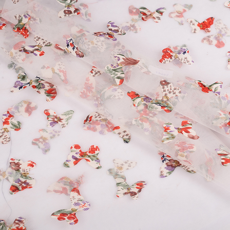 White Net Fabric With Multicolored Butterfly Embroidery -60773