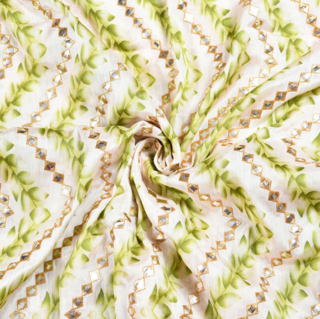 White Olive Green Digital Position Print Chinon Embroidery Fabric-19301